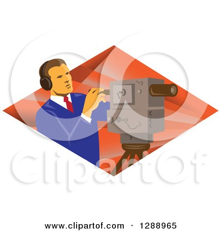 Clipart of a Retro Male Cameraman Working in a Diamond of Rays - Royalty Free Vector Illustration by patrimonio