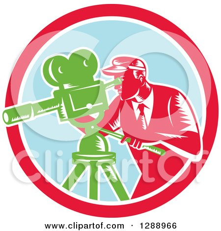 Clipart of a Retro Woodcut Male Cameraman Working in a Red White and Pastel Blue Circle - Royalty Free Vector Illustration by patrimonio
