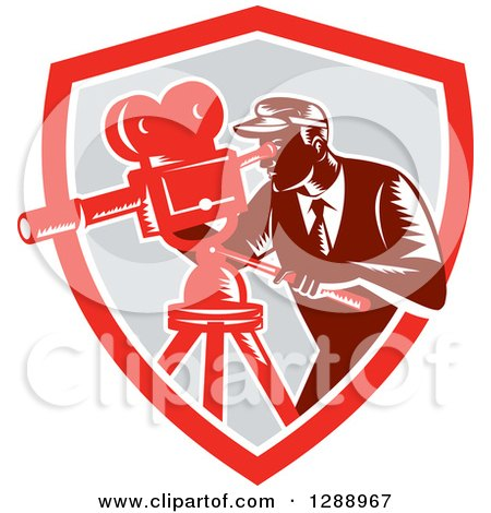 Clipart of a Retro Woodcut Male Cameraman Working in a Red White and Gray Shield - Royalty Free Vector Illustration by patrimonio
