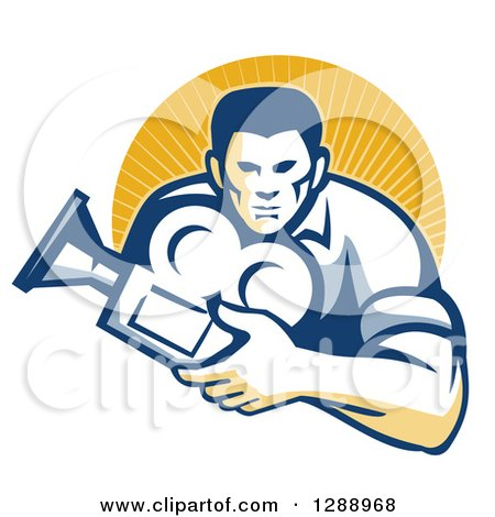 Clipart of a Retro Male Cameraman Holding a Camera and Emerging from a Circle of Sunshine - Royalty Free Vector Illustration by patrimonio