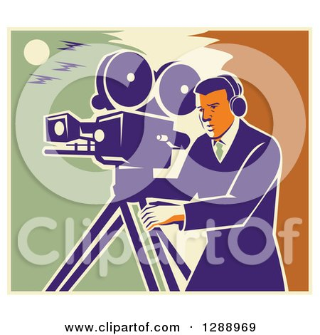 Clipart of a Retro Professional Male Cameraman Working over a Green Yellow and Orange Sky - Royalty Free Vector Illustration by patrimonio