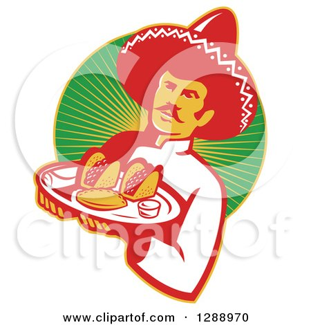 Clipart of a Retro Male Mexican Chef Wearing a Sombrero and Holding a Tray of Tacos, Burritos and Empanadas over a Circle of Rays - Royalty Free Vector Illustration by patrimonio