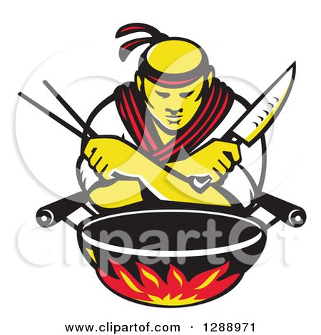 Clipart of a Retro Male Japanese Chef with Crossed Arms, a Knife and Chopsticks over a Wok and Flames - Royalty Free Vector Illustration by patrimonio
