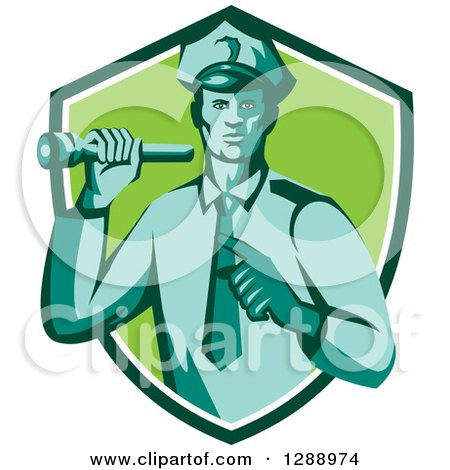 Clipart of a Retro Male Police Officer Shining a Flashlight and Pointing in a Navy Blue White and Green Shield - Royalty Free Vector Illustration by patrimonio