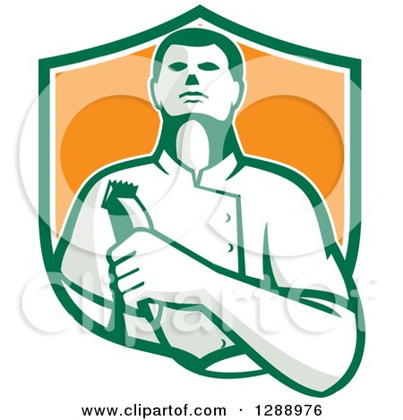 Clipart of a Retro Male Barber Holding Clippers in a Green White and Orange Shield - Royalty Free Vector Illustration by patrimonio