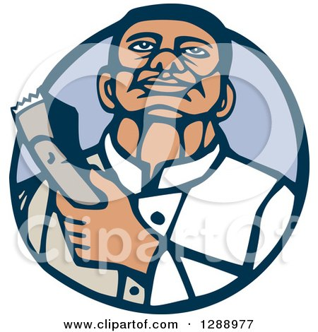 Clipart of a Retro Woodcut Male Barber Holding Clippers in a Blue Circle - Royalty Free Vector Illustration by patrimonio