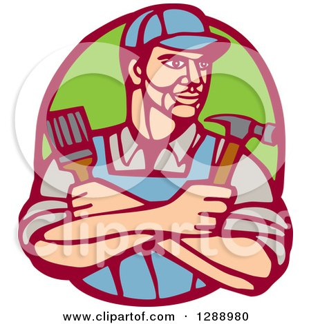 Clipart of a Retro Woodcut Handy Man Holding a Paintbrush and Hammer in a Marroon and Green Oval - Royalty Free Vector Illustration by patrimonio