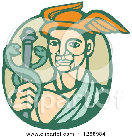 Clipart of a Retro Woodcut Hermes with a Caduceus in a Green Circle - Royalty Free Vector Illustration by patrimonio