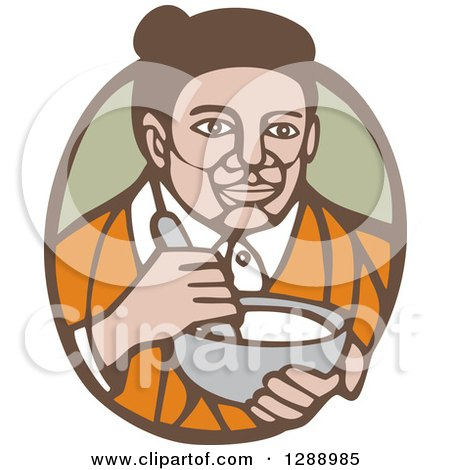 Clipart of a Retro Woodcut Senior Woman Holding a Mixing Bowl in a Green and Brown Oval - Royalty Free Vector Illustration by patrimonio