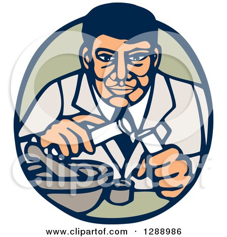 Clipart of a Retro Woodcut Male Scientist Transfering Items in Test Tubes in a Blue and Green Oval - Royalty Free Vector Illustration by patrimonio