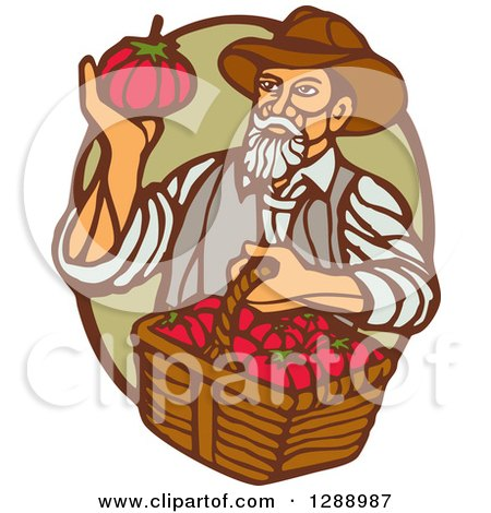 Clipart of a Retro Woodcut Male Farmer Holding a Basket of Tomatoes and Gazing at One in a Green and Brown Oval - Royalty Free Vector Illustration by patrimonio