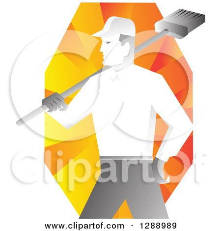 Clipart of a Retro Male Janitor Holding a Broom over His Shoulder over Orange Rays - Royalty Free Vector Illustration by patrimonio