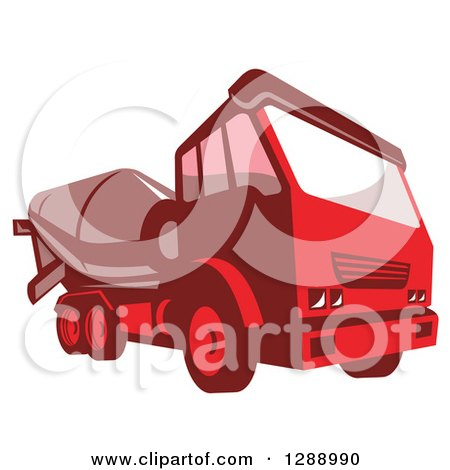 Clipart of a Red Cement Mixer Truck - Royalty Free Vector Illustration by patrimonio