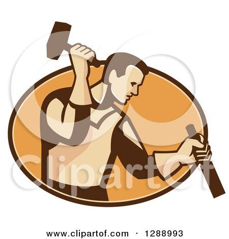 Retro Male Carpenter Holding a Hammer and Chisel in a Brown and Orange Oval Posters, Art Prints