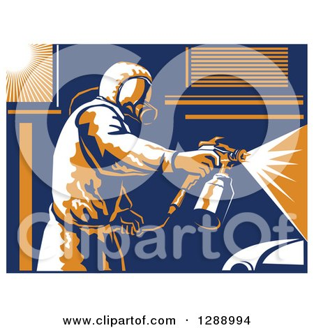 Clipart of a Retro Suited up Worker Spray Painting a Car, with a White Border - Royalty Free Vector Illustration by patrimonio