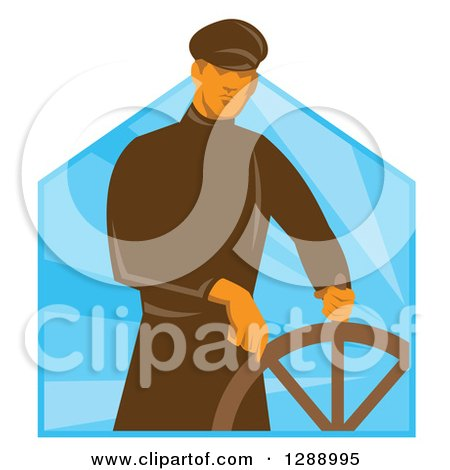 Clipart of a Retro Male Sea Captain at the Helm Wheel over Blue Rays - Royalty Free Vector Illustration by patrimonio