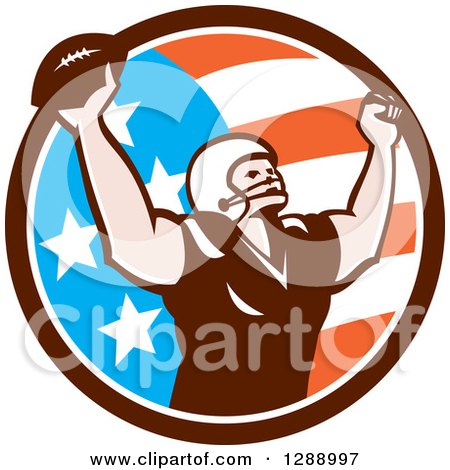 Clipart of a Retro American Football Player Scoring a Touchdown in an American Circle - Royalty Free Vector Illustration by patrimonio