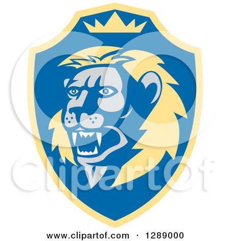 Clipart of a Retro Roaring Lion Head and Crown in a Yellow and Blue Shield - Royalty Free Vector Illustration by patrimonio