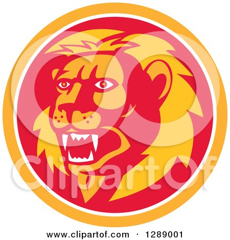 Clipart of a Retro Roaring Lion Head in an Orange White and Red Circle - Royalty Free Vector Illustration by patrimonio
