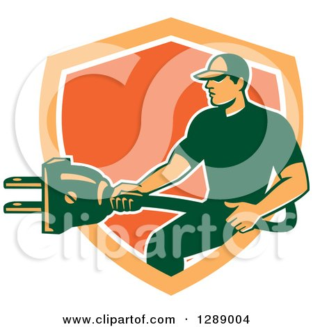 Clipart of a Retro Male Electrician Holding a Giant Plug in an Orange and White Shield - Royalty Free Vector Illustration by patrimonio