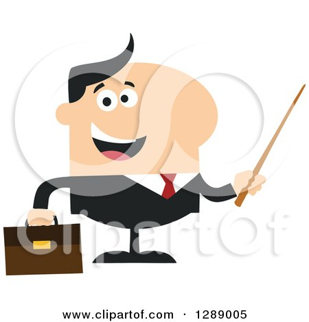 Clipart of a Modern Flat Design of a Happy White Business Man Holding a Pointer Stick - Royalty Free Vector Illustration by Hit Toon