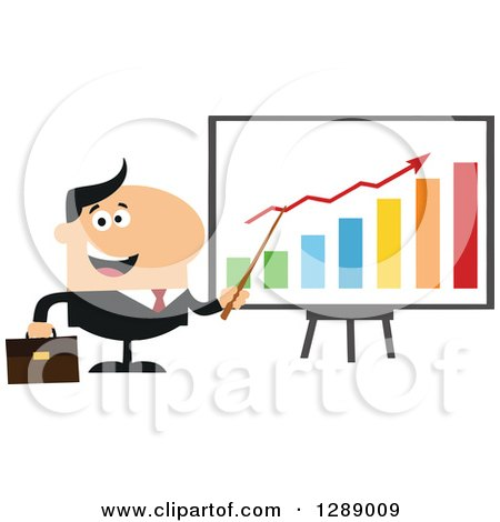 Clipart of a Modern Flat Design of a Happy White Business Man Discussing Company Growth with a Bar Graph - Royalty Free Vector Illustration by Hit Toon