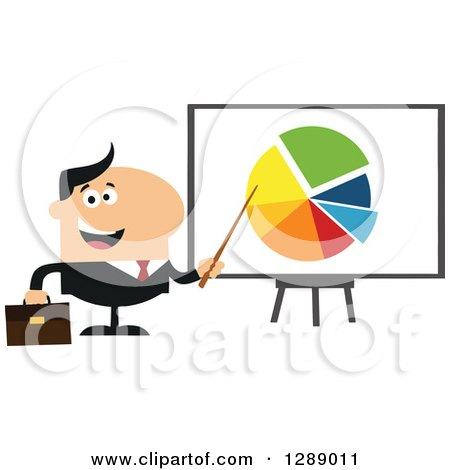 Clipart of a Modern Flat Design of a Happy White Businessman Pointing to a Pie Chart on a Presentation Board - Royalty Free Vector Illustration by Hit Toon