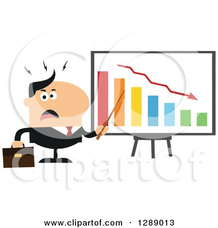 Clipart of a Modern Flat Design of an Angry White Business Man Discussing Company Growth with a Bar Graph - Royalty Free Vector Illustration by Hit Toon