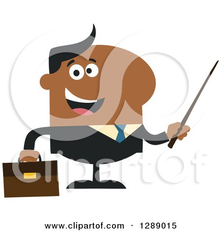 Clipart of a Modern Flat Design of a Happy Black Business Man Holding a Pointer Stick - Royalty Free Vector Illustration by Hit Toon