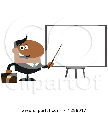 Clipart of a Modern Flat Design of a Happy Black Businessman Using a Pointer Stick by a Presentation Board - Royalty Free Vector Illustration by Hit Toon