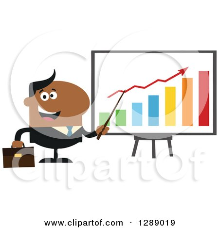 Clipart of a Modern Flat Design of a Happy Black Business Man Discussing Company Growth with a Bar Graph - Royalty Free Vector Illustration by Hit Toon