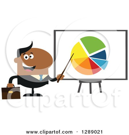 Clipart of a Modern Flat Design of a Happy Black Businessman Pointing to a Pie Chart on a Presentation Board - Royalty Free Vector Illustration by Hit Toon