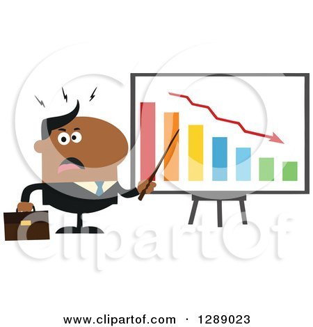 Clipart of a Modern Flat Design of an Angry Black Business Man Discussing Company Growth with a Bar Graph - Royalty Free Vector Illustration by Hit Toon