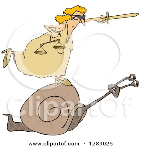 Clipart of a Blindfolded Lady Justice Holding a Sword and Scales and Riding a Slow Snail - Royalty Free Vector Illustration by djart