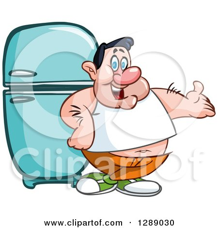 Clipart of a Cartoon Fat Caucasian Man Presenting and Leaning Against a Retro Refrigerator - Royalty Free Vector Illustration by yayayoyo