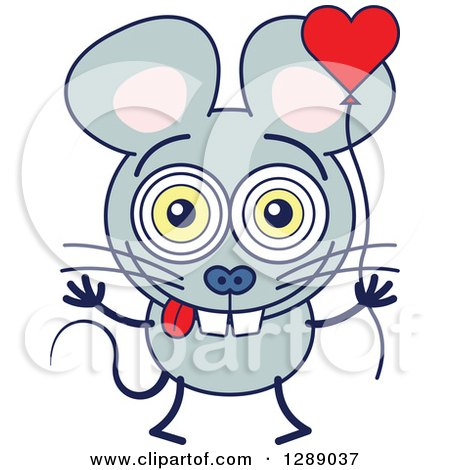 Clipart of a Smitten Gray Mouse in Love, Holding a Heart Balloon - Royalty Free Vector Illustration by Zooco