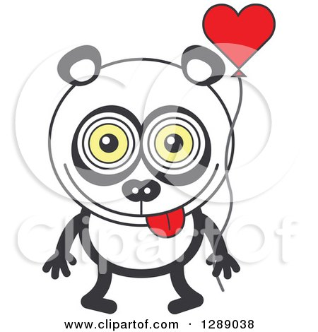 Clipart of a Smitten Panda in Love, Holding a Heart Balloon - Royalty Free Vector Illustration by Zooco