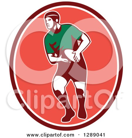 Clipart of a Retro Male Rugby Player Passing the Ball in a Maroon White and Pink Oval - Royalty Free Vector Illustration by patrimonio