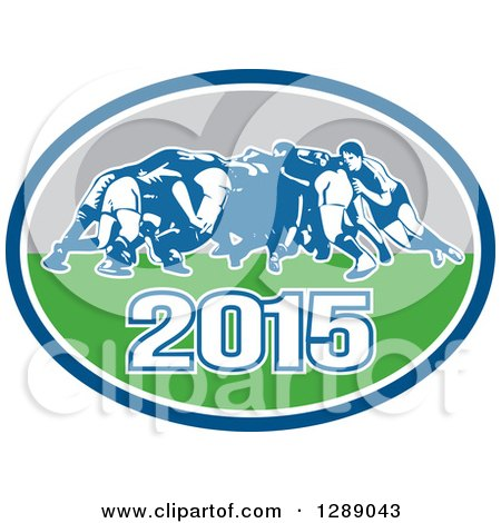 Clipart of Retro Rugby Union Players in a Scrum in a Blue White Turquoise and Gray 2015 Oval - Royalty Free Vector Illustration by patrimonio