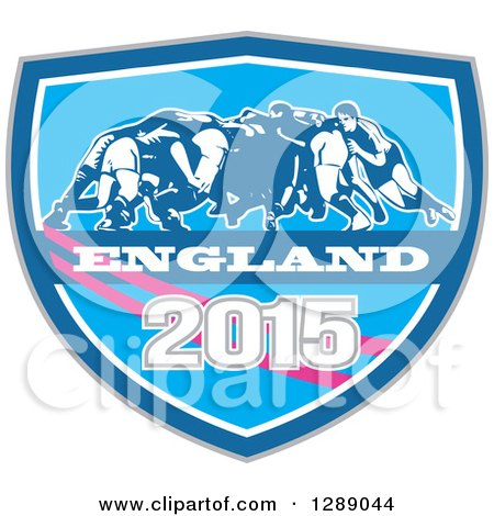 Clipart of Retro Rugby Union Players in a Scrum in a Blue White and Pink England 2015 Shield - Royalty Free Vector Illustration by patrimonio