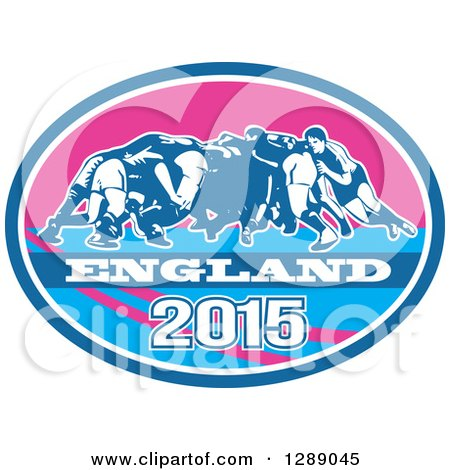 Clipart of Retro Rugby Union Players in a Scrum in a Blue White and Pink England 2015 Oval - Royalty Free Vector Illustration by patrimonio