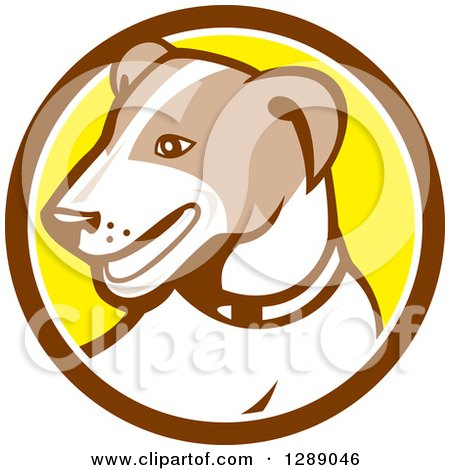 Clipart of a Retro Cartoon Jack Russell Terrier Dog in a Brown White and Yellow Circle - Royalty Free Vector Illustration by patrimonio