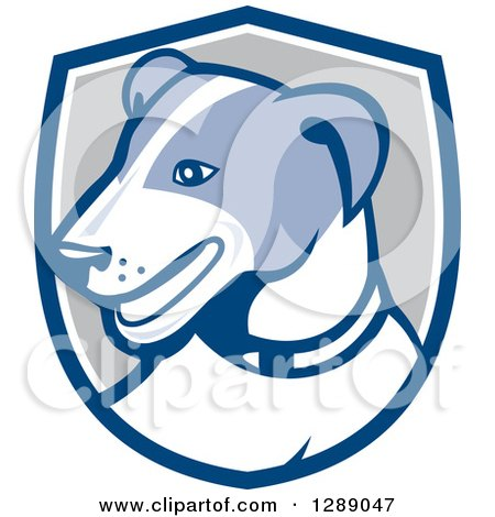 Clipart of a Retro Cartoon Jack Russell Terrier Dog in a Blue White and Gray Shield - Royalty Free Vector Illustration by patrimonio