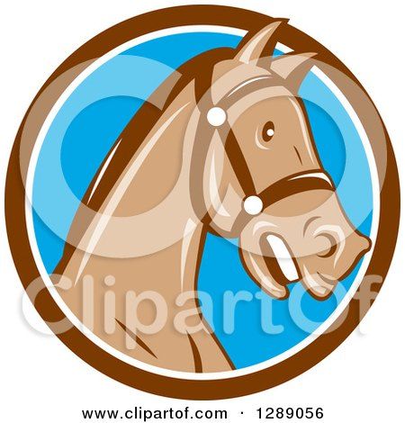 Clipart of a Cartoon Retro Horse Head with a Bridle in a Brown White and Blue Circle - Royalty Free Vector Illustration by patrimonio