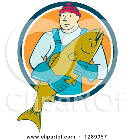 Clipart of a Cartoon Male Fishmonger Holding a Catch and Emerging from a Blue White and Orange Circle - Royalty Free Vector Illustration by patrimonio