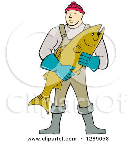 Clipart of a Cartoon Male Fishmonger Holding a Catch - Royalty Free Vector Illustration by patrimonio