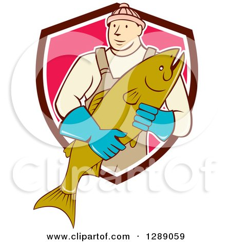 Clipart of a Cartoon Male Fishmonger Holding a Catch and Emerging from a Maroon White and Pink Shield - Royalty Free Vector Illustration by patrimonio