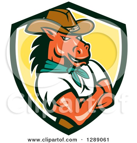 Clipart of a Cartoon Retro Cowboy Sheriff Horse Man with Folded Arms in a Black White and Yellow Shield - Royalty Free Vector Illustration by patrimonio