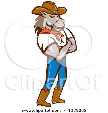 Clipart of a Cartoon Retro Cowboy Sheriff Horse Man Standing with Folded Arms - Royalty Free Vector Illustration by patrimonio