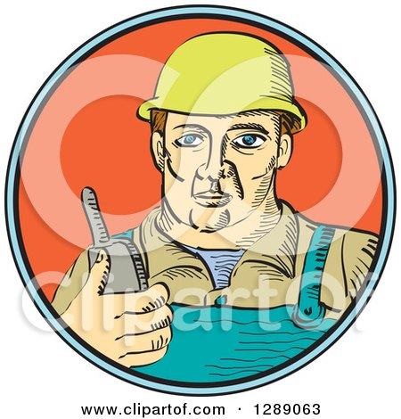 White Male Construction Worker Holding a Radio Phone in a Blue Black and Orange Circle Posters, Art Prints
